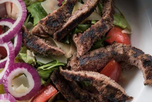steak salad close lunch